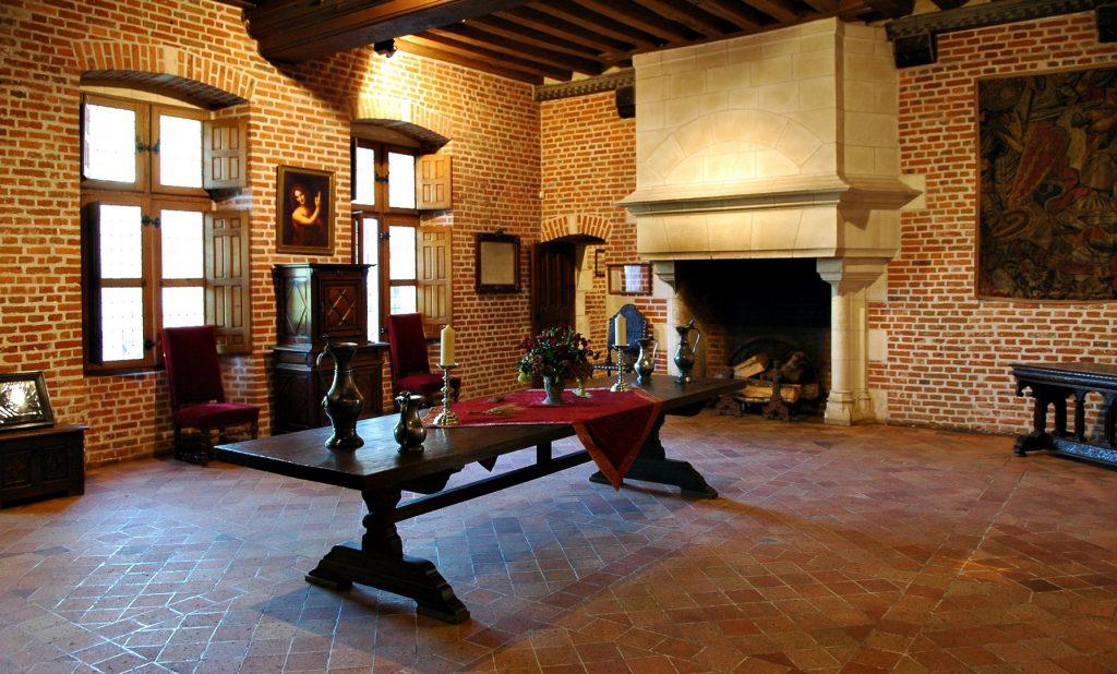 Salão de Da Vinci no Clos Lucé em dia comum