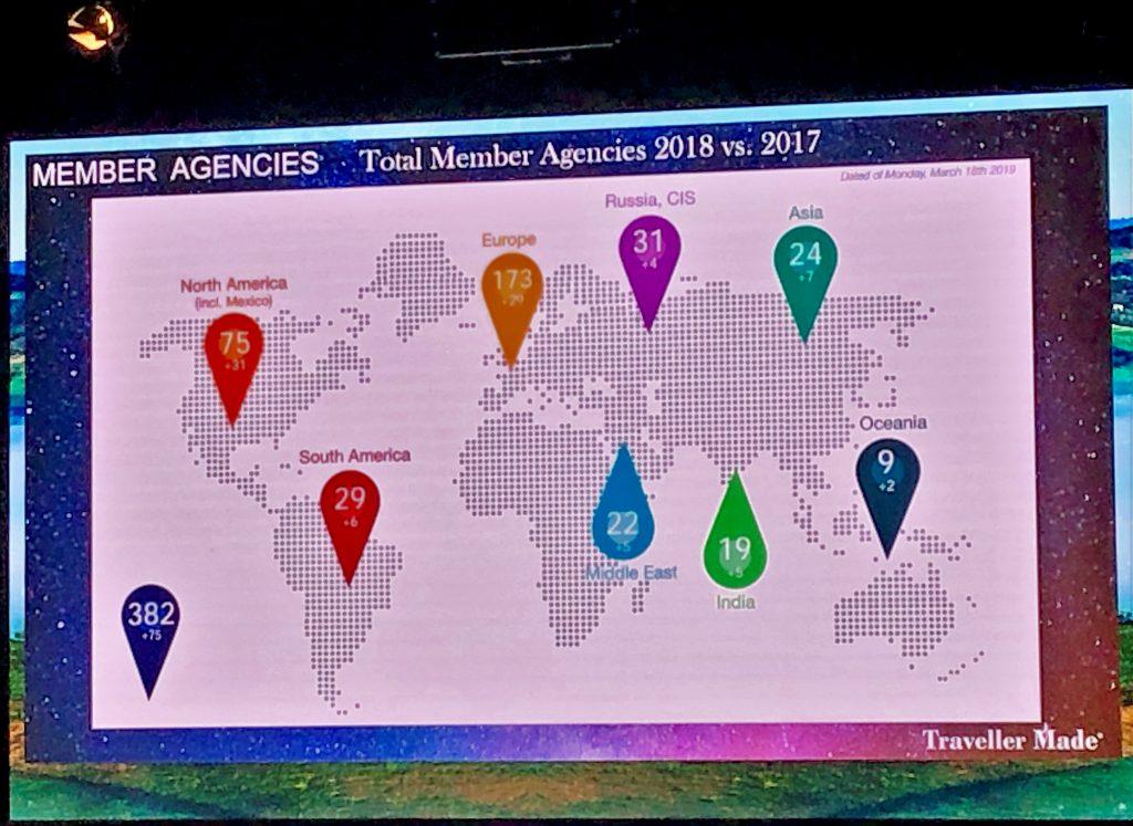 Agências associadas a Traveller Made em todo o mundo: números apresentados por Quentin Desurmont na conferência de abertura do EOL 2019